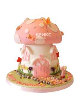 Торт гриб-домик с надписью