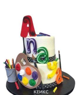 Двухъярусный торт с мольбертом и надписью