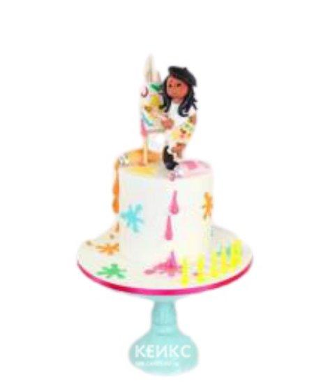 Торт с человечком и разноцветными кляксами