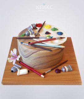 Торт с принадлежностями для рисования