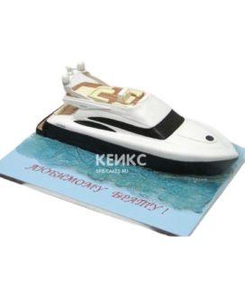 Торт в виде черно-белой яхты