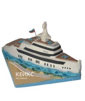 Торт в виде яхты на волнах
