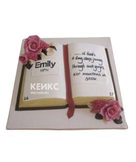 Торт в виде открытой книги с цветами