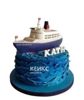 Морской торт корабль на волнах