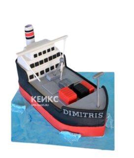 Торт Корабль в морском стиле