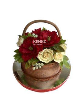 Необыкновенный торт корзина с цветами маками и розами