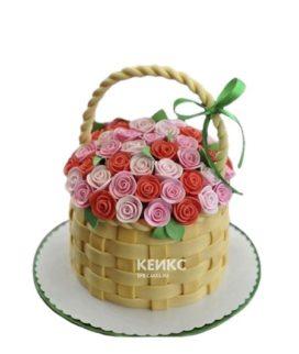 Торт корзина с разноцветными цветами