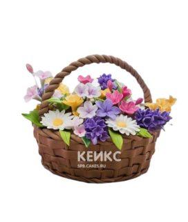 Яркий торт корзина с полевыми цветами
