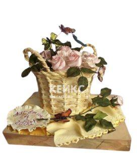 Торт корзина с цветами чайными розами
