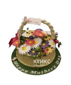 Торт корзина с цветами разноцветными ромашками