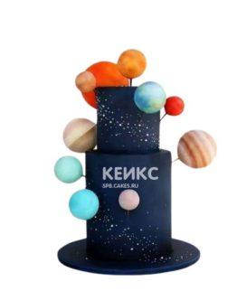 Необычный торт на тему космос с планетами