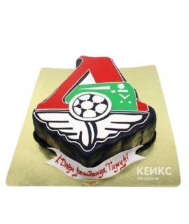 Футбольный торт в виде логотипа Локомотив