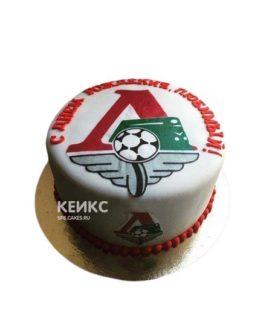 Белый круглый футбольный торт Локомотив