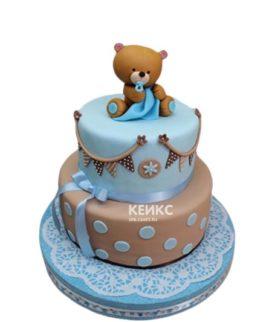 Коричнево-голубой торт с медвежонком для мальчика на 2 года
