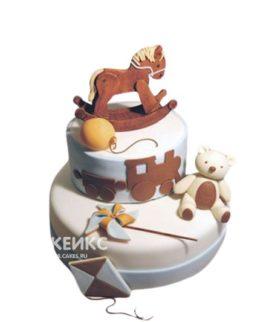 Торт с лошадкой и медвежонком на 2 года мальчику