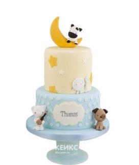 Торт с луной и зверятами на 2 года мальчику