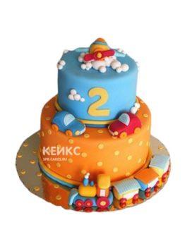 Оранжевый двухъярусный торт мальчику на 2 года