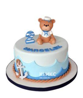Морской торт с медвежонком и якорем мальчику на 2 года