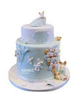 Торт голубого цвета с зайцами на 2 года мальчику