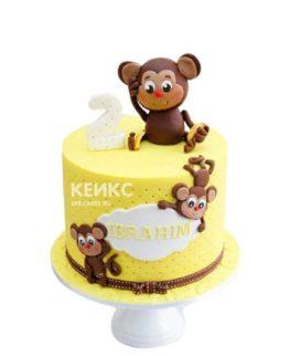 Торт на 2 года мальчику желтый с обезьянками