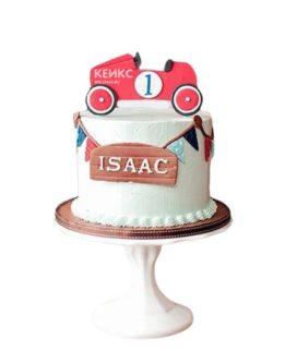 Детский торт со спортивной ретро машинкой из мастики