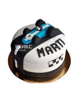 Детский торт синяя гоночная машинка