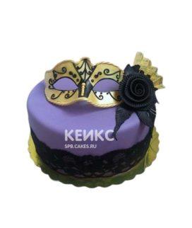 Торт театральная маска с черным цветком