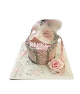 Торт женская маска с цветком