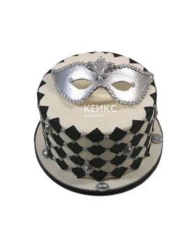 Торт серебряная театральная маска