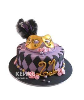 Торт желтая маска с перьями