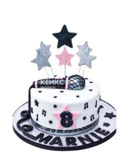Торт с микрофоном и звездами