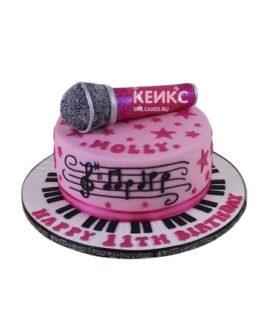 Розовый торт Микрофон с нотами