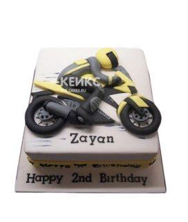 Торт с желтым гоночным мотоциклом