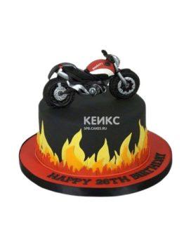 Черный торт Мотоцикл с пламенем