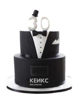 Торт на юбилей мужчине 30 лет в виде черного костюма