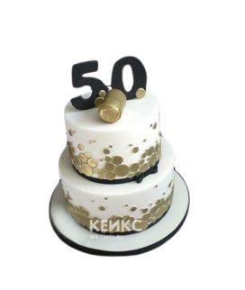 Бело-золотистый торт на юбилей мужчине 50 лет