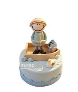 Торт с фигуркой рыбака в лодке на юбилей мужчине 50 лет