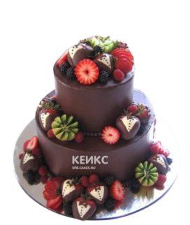 Торт на юбилей мужчине 55 лет шоколадный с фруктами