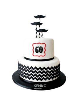 Торт на юбилей мужчине 60 лет черно-белый с усами