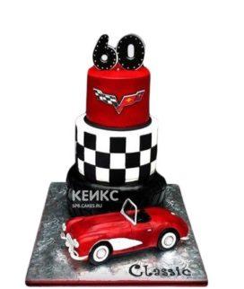 Торт на юбилей мужчине 60 лет с красной машиной
