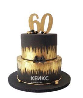 Торт на юбилей мужчине 60 лет золотисто-черный