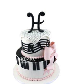 Торт Музыка с нотами, клавишами и бантом