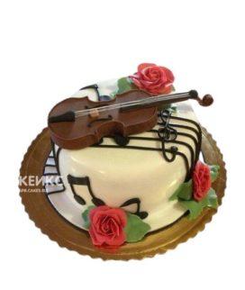 Торт музыканту со скрипкой и цветами