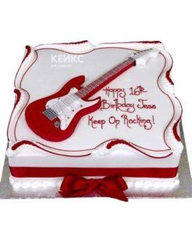 Красно-белый торт с гитарой и надписью