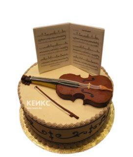 Торт Музыканту со скрипкой и нотами