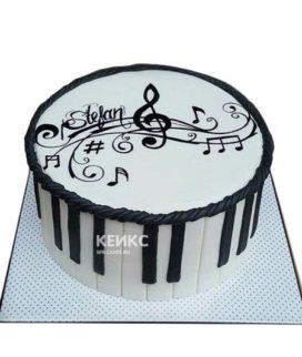 Торт музыканту с клавишами и нотами