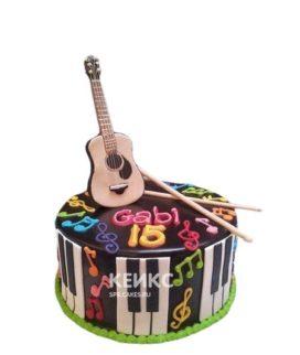 Торт Гитара с разноцветными нотами