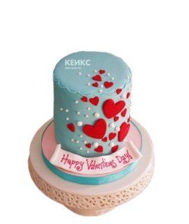 Торт голубого цвета с сердечками на 14 февраля