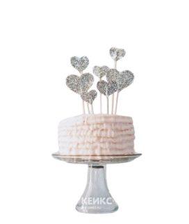 Торт с серебристыми сердечками на 14 февраля