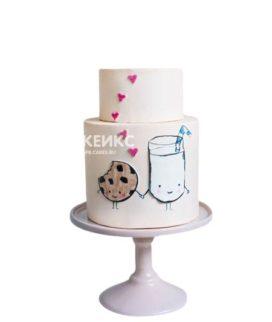 Двухъярусный торт с сердечками на 14 февраля